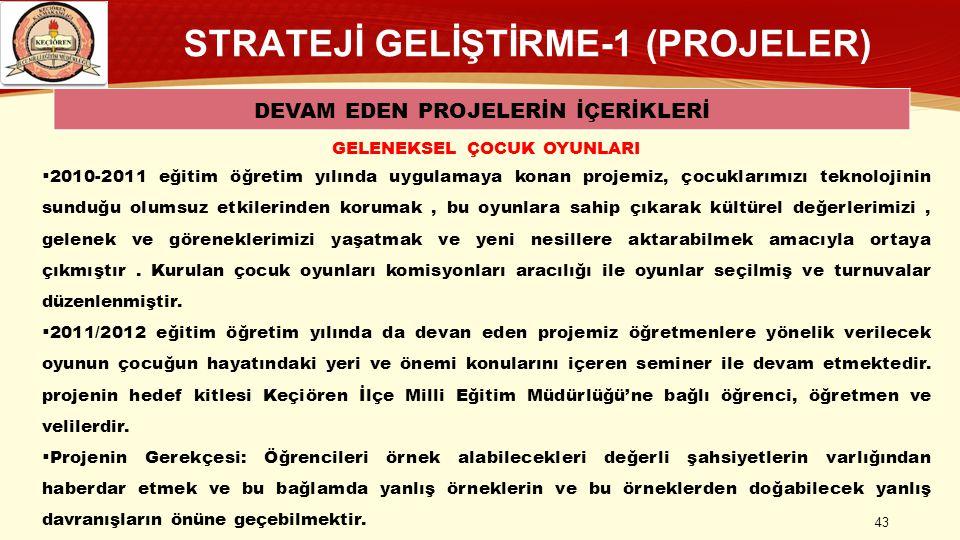 STRATEJİ GELİŞTİRME-1 (PROJELER) DEVAM EDEN PROJELERİN İÇERİKLERİ GELENEKSEL ÇOCUK OYUNLARI  2010-2011 eğitim öğretim yılında uygulamaya konan projem