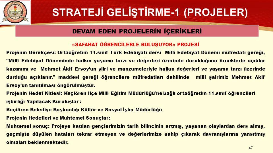 STRATEJİ GELİŞTİRME-1 (PROJELER) DEVAM EDEN PROJELERİN İÇERİKLERİ 47 «SAFAHAT ÖĞRENCİLERLE BULUŞUYOR» PROJESİ Projenin Gerekçesi: Ortaöğretim 11.sınıf Türk Edebiyatı dersi Milli Edebiyat Dönemi müfredatı gereği, Millî Edebiyat Döneminde halkın yaşama tarzı ve değerleri üzerinde durulduğunu örneklerle açıklar kazanımı ve Mehmet Âkif Ersoy'un şiiri ve manzumeleriyle halkın değerleri ve yaşama tarzı üzerinde durduğu açıklanır. maddesi gereği öğrencilere müfredatları dahilinde milli şairimiz Mehmet Akif Ersoy un tanıtılması öngörülmüştür.