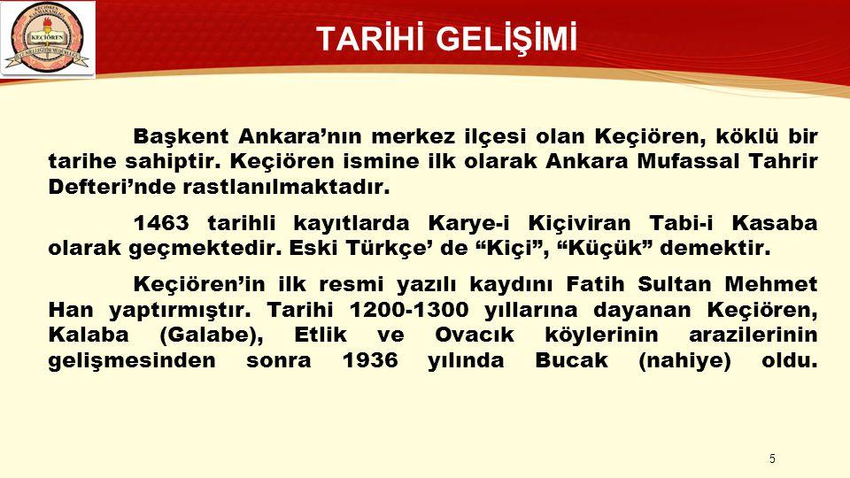 TARİHİ GELİŞİMİ Başkent Ankara'nın merkez ilçesi olan Keçiören, köklü bir tarihe sahiptir. Keçiören ismine ilk olarak Ankara Mufassal Tahrir Defteri'n