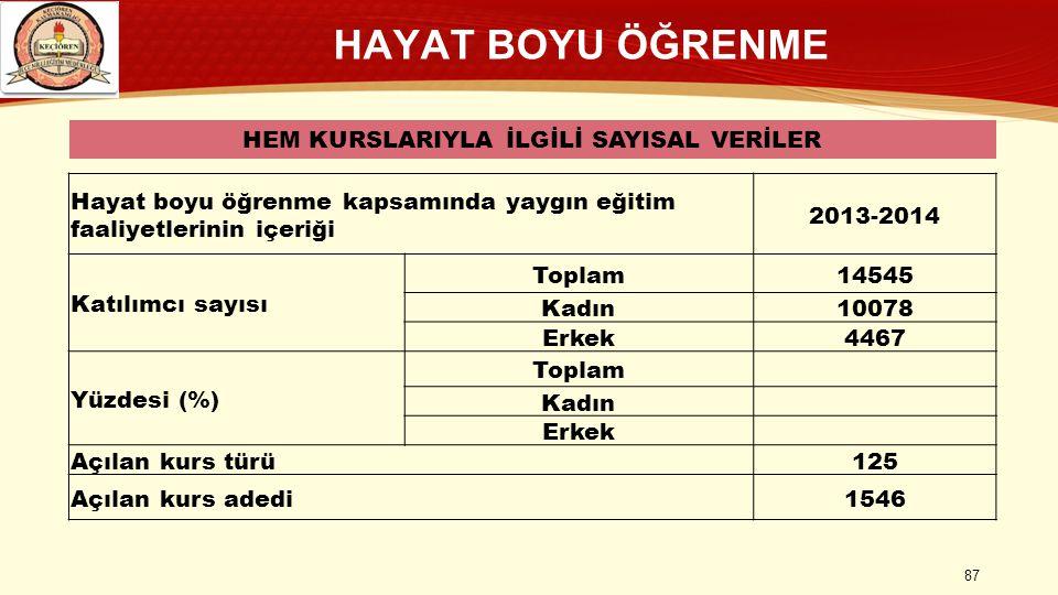HAYAT BOYU ÖĞRENME HEM KURSLARIYLA İLGİLİ SAYISAL VERİLER Hayat boyu öğrenme kapsamında yaygın eğitim faaliyetlerinin içeriği 2013-2014 Katılımcı sayı