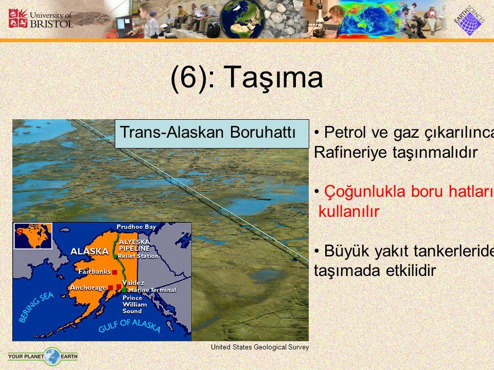 (6): Taşıma United States Geological Survey Petrol ve gaz çıkarılınca Rafineriye taşınmalıdır Çoğunlukla boru hatları kullanılır Büyük yakıt tankerler