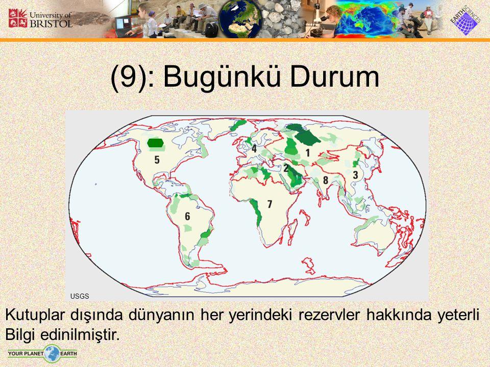 (9): Bugünkü Durum USGS Kutuplar dışında dünyanın her yerindeki rezervler hakkında yeterli Bilgi edinilmiştir.
