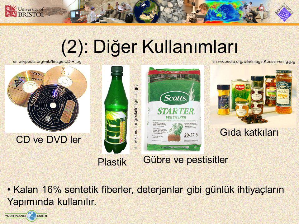(2): Diğer Kullanımları Kalan 16% sentetik fiberler, deterjanlar gibi günlük ihtiyaçların Yapımında kullanılır. Gübre ve pestisitler Gıda katkıları Pl