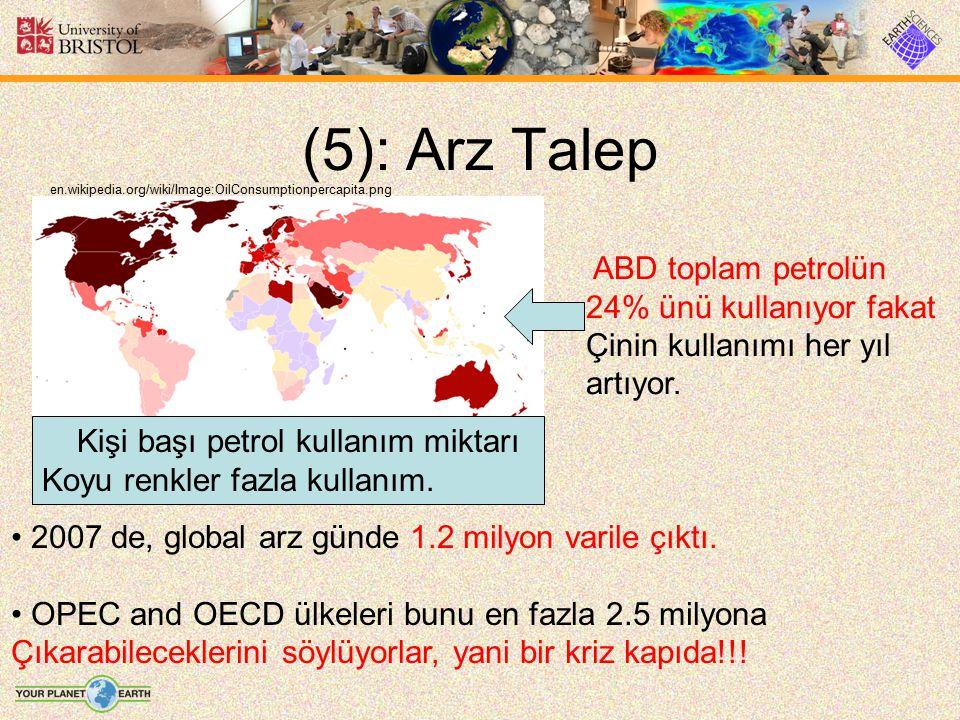 (5): Arz Talep 2007 de, global arz günde 1.2 milyon varile çıktı. OPEC and OECD ülkeleri bunu en fazla 2.5 milyona Çıkarabileceklerini söylüyorlar, ya