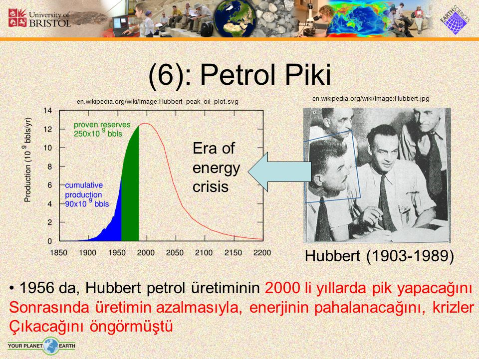 (6): Petrol Piki en.wikipedia.org/wiki/Image:Hubbert_peak_oil_plot.svg en.wikipedia.org/wiki/Image:Hubbert.jpg Hubbert (1903-1989) Era of energy crisi
