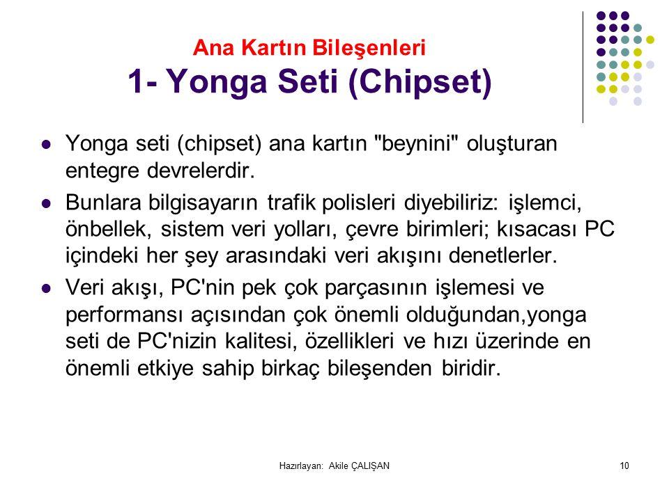Ana Kartın Bileşenleri 1- Yonga Seti (Chipset) Yonga seti (chipset) ana kartın beynini oluşturan entegre devrelerdir.
