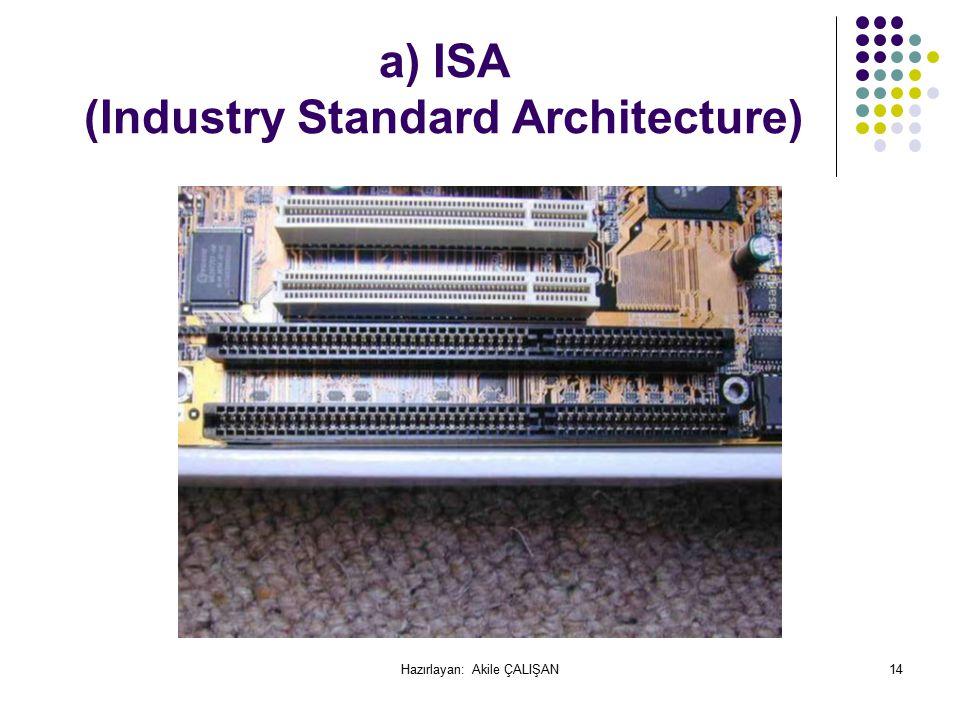 a) ISA (Industry Standard Architecture) 14Hazırlayan: Akile ÇALIŞAN
