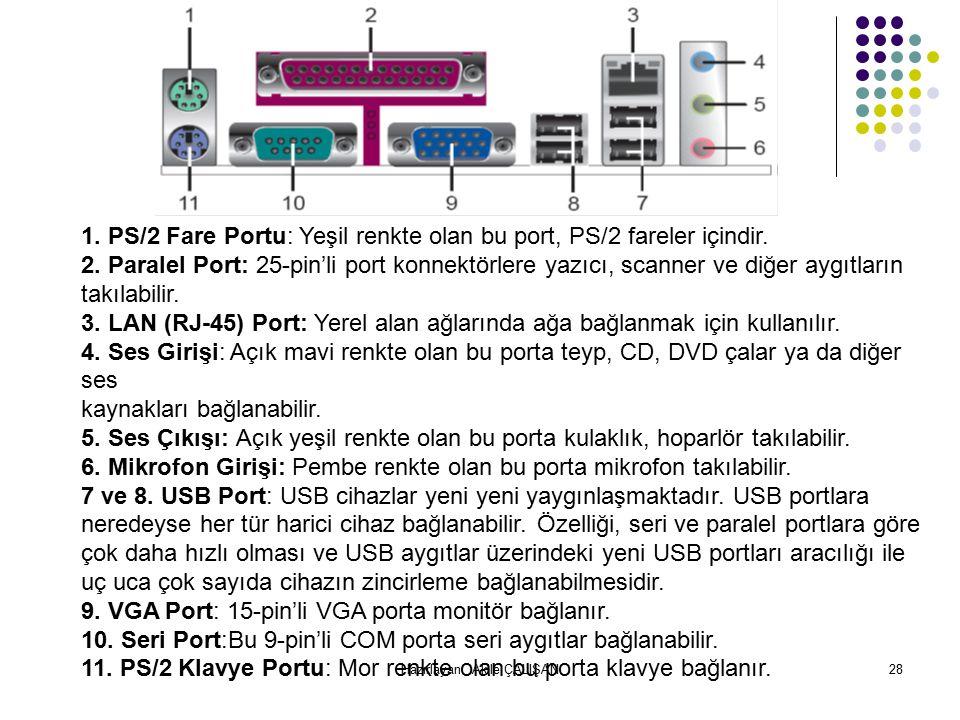1.PS/2 Fare Portu: Yeşil renkte olan bu port, PS/2 fareler içindir.