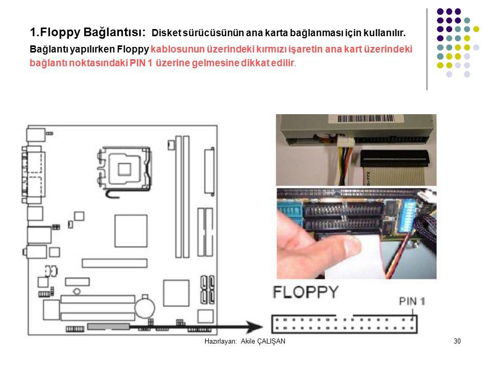 1.Floppy Bağlantısı: Disket sürücüsünün ana karta bağlanması için kullanılır.