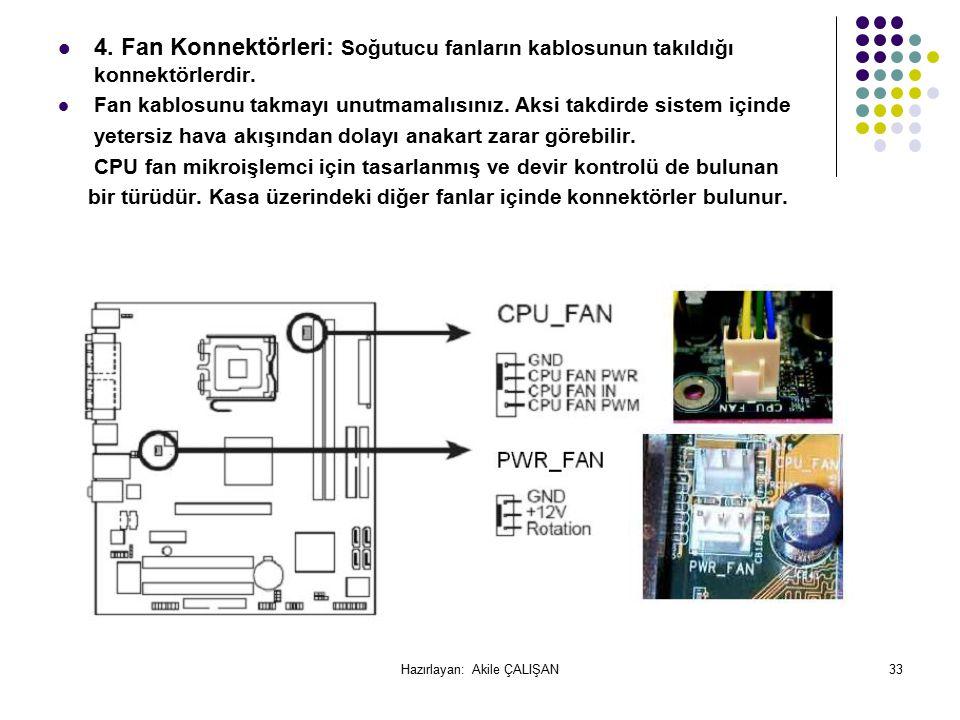 4.Fan Konnektörleri: Soğutucu fanların kablosunun takıldığı konnektörlerdir.