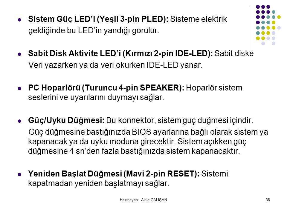 Sistem Güç LED'i (Yeşil 3-pin PLED): Sisteme elektrik geldiğinde bu LED'in yandığı görülür.