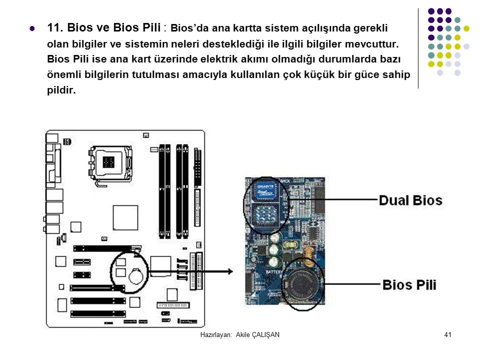 11. Bios ve Bios Pili : Bios'da ana kartta sistem açılışında gerekli olan bilgiler ve sistemin neleri desteklediği ile ilgili bilgiler mevcuttur. Bios