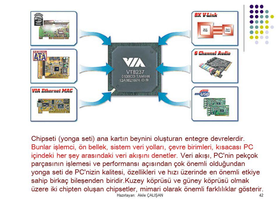 Chipseti (yonga seti) ana kartın beynini oluşturan entegre devrelerdir.