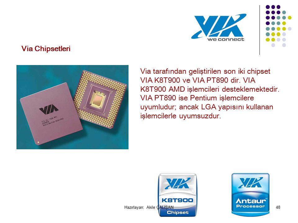 Via tarafından geliştirilen son iki chipset VIA K8T900 ve VIA PT890 dir.
