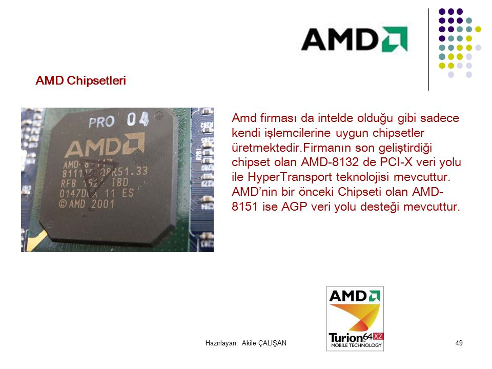 Amd firması da intelde olduğu gibi sadece kendi işlemcilerine uygun chipsetler üretmektedir.Firmanın son geliştirdiği chipset olan AMD-8132 de PCI-X veri yolu ile HyperTransport teknolojisi mevcuttur.