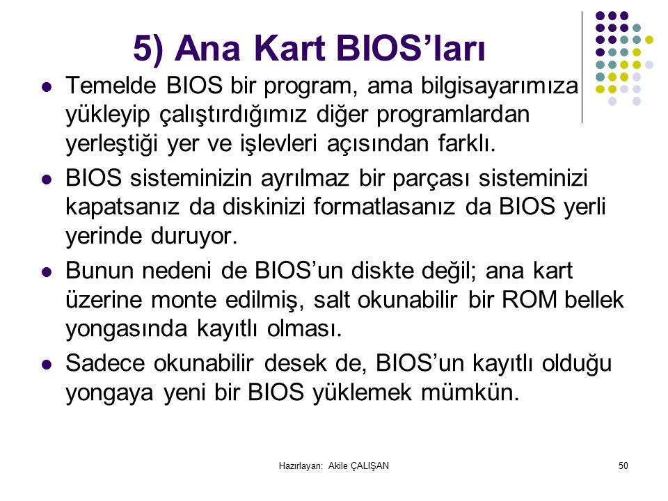5) Ana Kart BIOS'ları Temelde BIOS bir program, ama bilgisayarımıza yükleyip çalıştırdığımız diğer programlardan yerleştiği yer ve işlevleri açısından farklı.
