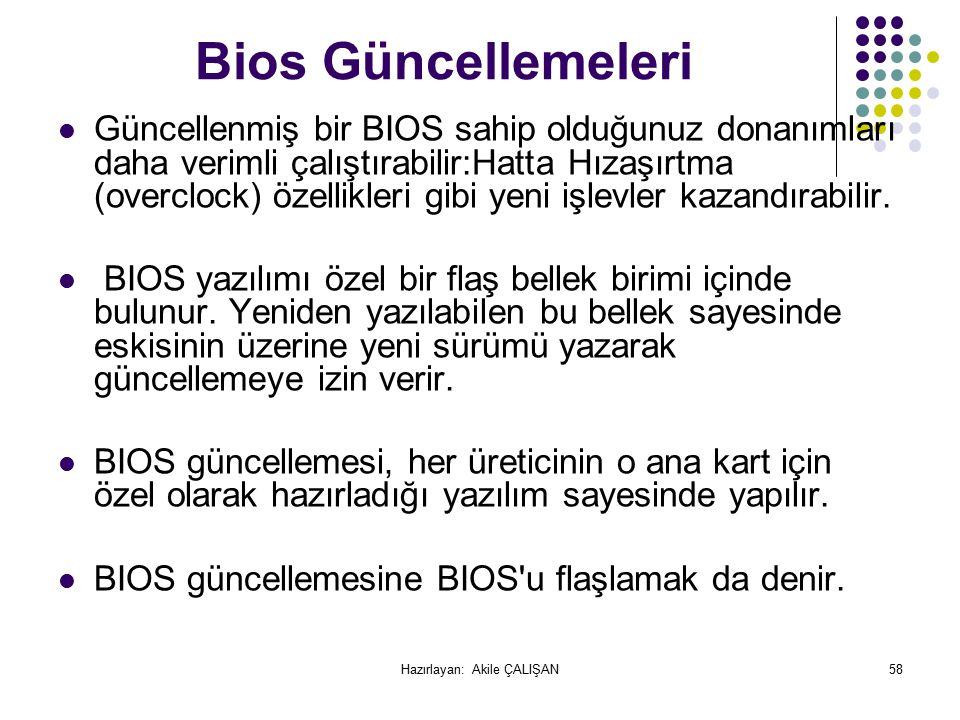 Bios Güncellemeleri Güncellenmiş bir BIOS sahip olduğunuz donanımları daha verimli çalıştırabilir:Hatta Hızaşırtma (overclock) özellikleri gibi yeni işlevler kazandırabilir.