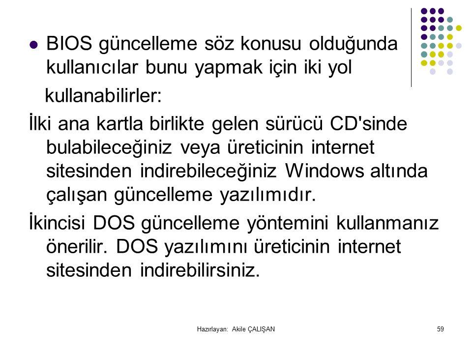 BIOS güncelleme söz konusu olduğunda kullanıcılar bunu yapmak için iki yol kullanabilirler: İlki ana kartla birlikte gelen sürücü CD sinde bulabileceğiniz veya üreticinin internet sitesinden indirebileceğiniz Windows altında çalışan güncelleme yazılımıdır.