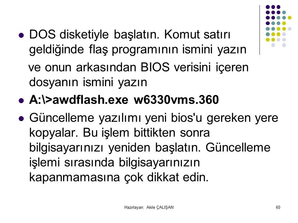 DOS disketiyle başlatın.