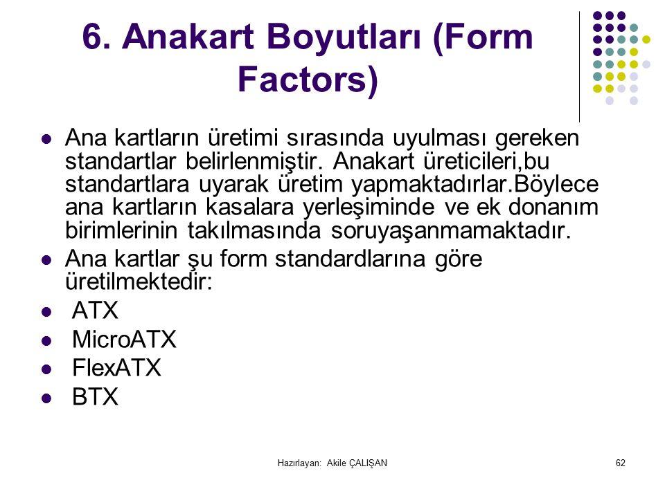 6. Anakart Boyutları (Form Factors) Ana kartların üretimi sırasında uyulması gereken standartlar belirlenmiştir. Anakart üreticileri,bu standartlara u
