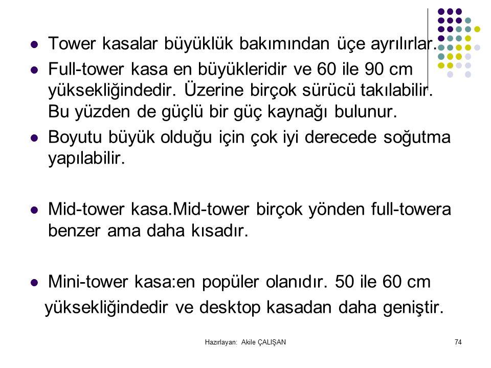 Tower kasalar büyüklük bakımından üçe ayrılırlar.