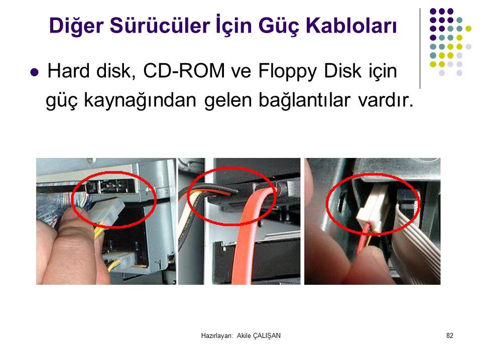 Diğer Sürücüler İçin Güç Kabloları Hard disk, CD-ROM ve Floppy Disk için güç kaynağından gelen bağlantılar vardır.