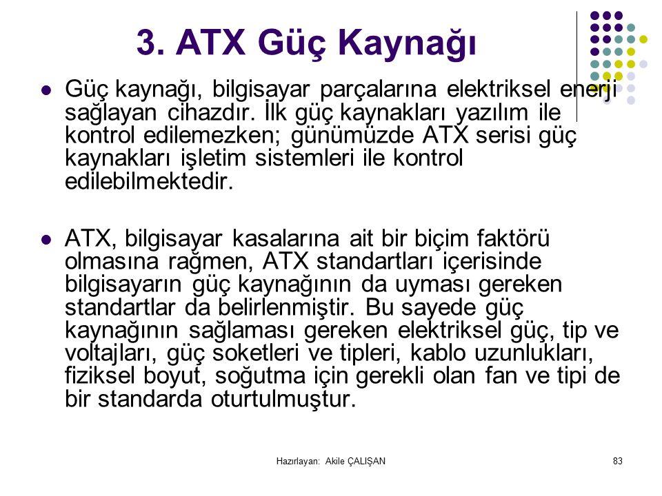3.ATX Güç Kaynağı Güç kaynağı, bilgisayar parçalarına elektriksel enerji sağlayan cihazdır.