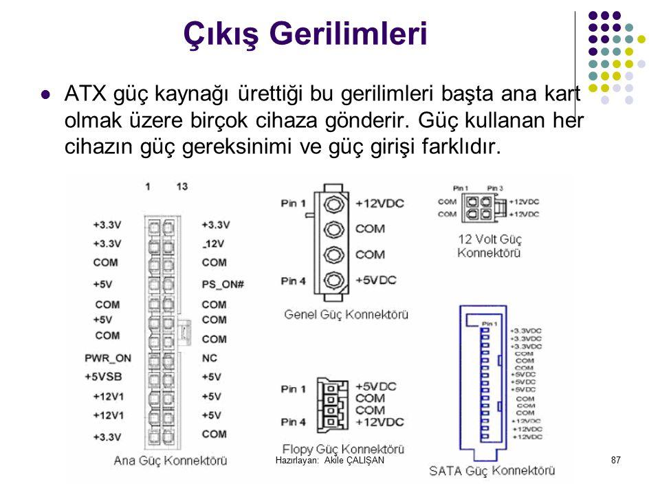 Çıkış Gerilimleri ATX güç kaynağı ürettiği bu gerilimleri başta ana kart olmak üzere birçok cihaza gönderir.