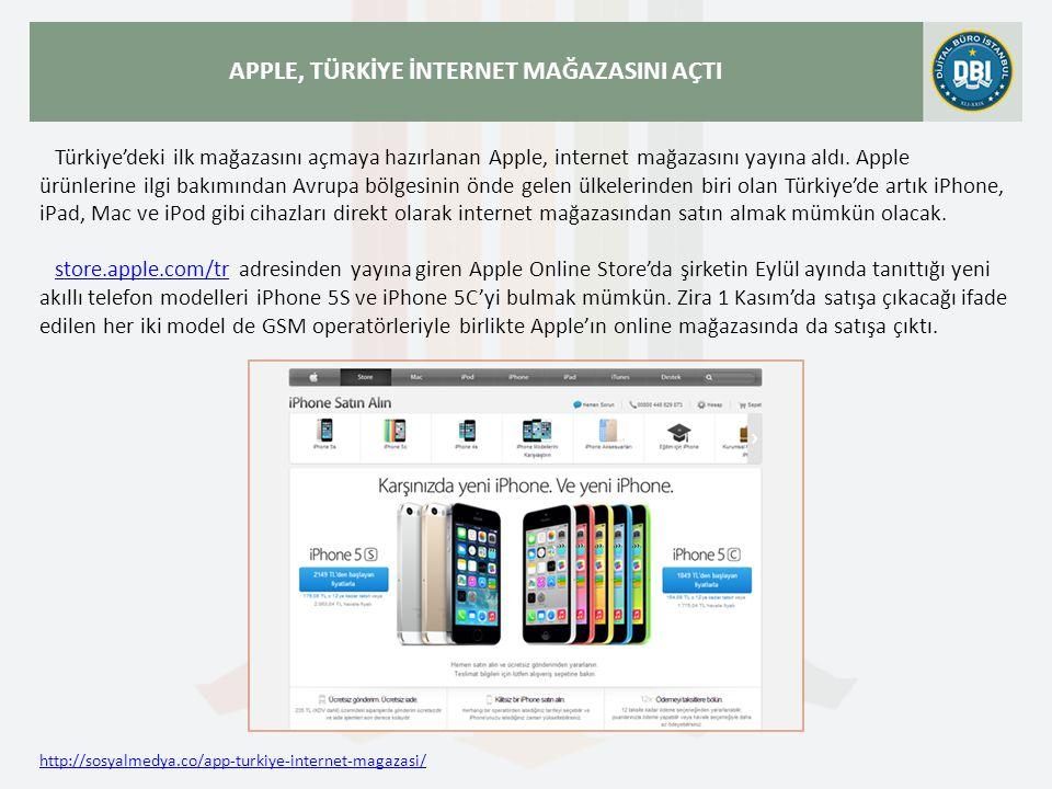 http://sosyalmedya.co/app-turkiye-internet-magazasi/ APPLE, TÜRKİYE İNTERNET MAĞAZASINI AÇTI Türkiye'deki ilk mağazasını açmaya hazırlanan Apple, internet mağazasını yayına aldı.
