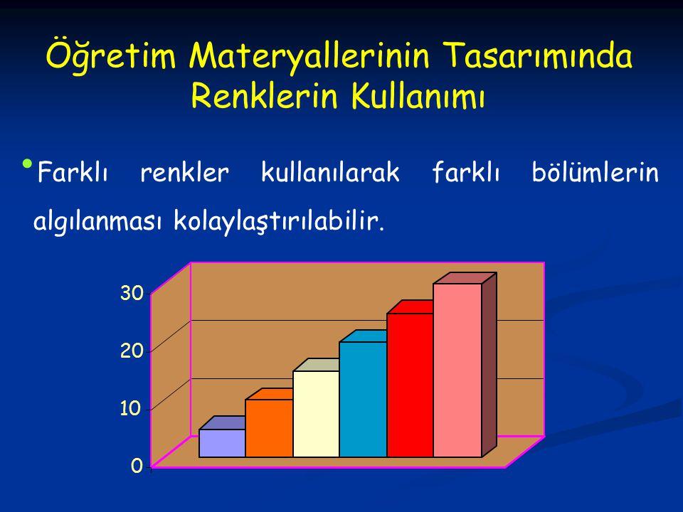 Öğretim Materyallerinin Tasarımında Renklerin Kullanımı Farklı renkler kullanılarak farklı bölümlerin algılanması kolaylaştırılabilir. 0 10 20 30
