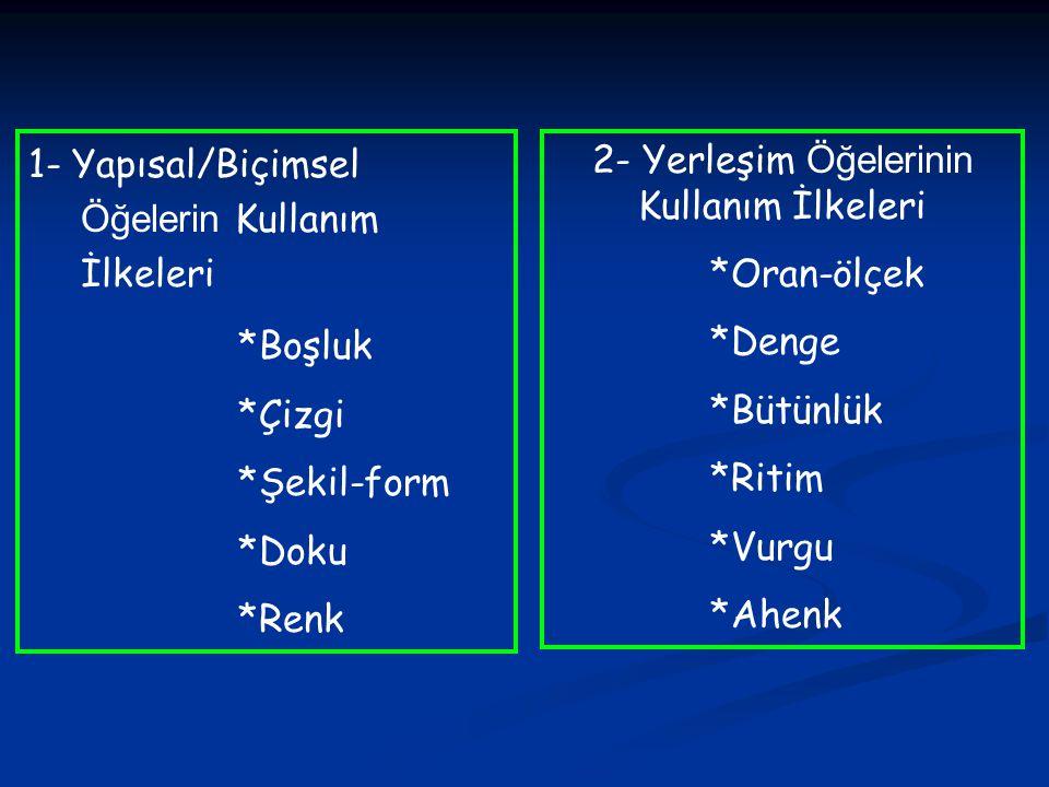2- Yerleşim Elemanlarının Kullanım İlkeleri *Ahenk Kompozisyonun bütünü ile bağlantılıdır.