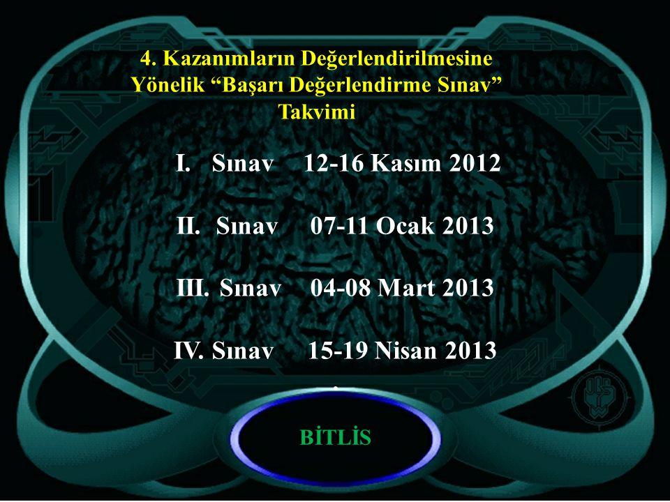 """I. Sınav12-16 Kasım 2012 II. Sınav07-11 Ocak 2013 III. Sınav04-08 Mart 2013 IV. Sınav15-19 Nisan 2013. 4. Kazanımların Değerlendirilmesine Yönelik """"Ba"""