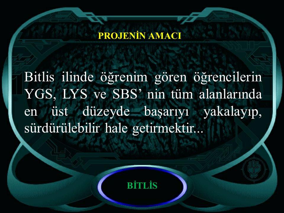 BİTLİS PROJENİN AMACI Bitlis ilinde öğrenim gören öğrencilerin YGS, LYS ve SBS' nin tüm alanlarında en üst düzeyde başarıyı yakalayıp, sürdürülebilir