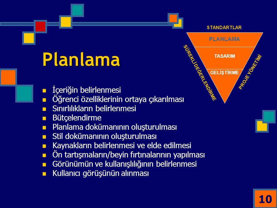 10 Planlama İçeriğin belirlenmesi Öğrenci özelliklerinin ortaya çıkarılması Sınırlılıkların belirlenmesi Bütçelendirme Planlama dokümanının oluşturulm