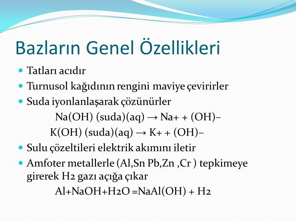 Bazların Genel Özellikleri Tatları acıdır Turnusol kağıdının rengini maviye çevirirler Suda iyonlanlaşarak çözünürler Na(OH) (suda)(aq) → Na+ + (OH)–