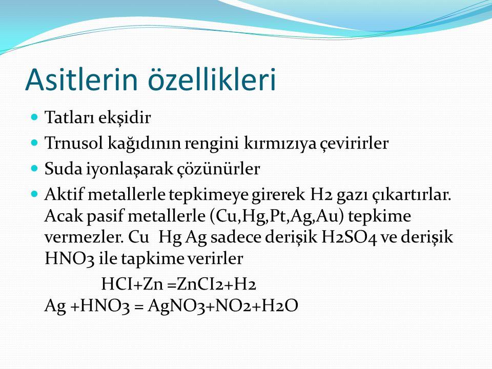 Bazlarla tepkimeye girerek tuz+su oluşturur.Bu olaya nötrleşme denir NaOH+HCI=NaCI+H2O Tutucudur Asitli ortamda yetişen ortanca çiçiği mavi renklidir Asit çözeltilri korbonlu bileşikleri parçalar Asitler yakıcı ve tahriş edicidir