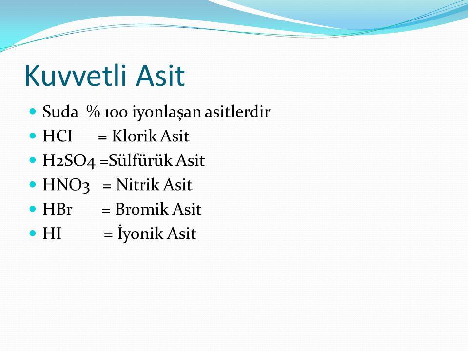 Kuvvetli Asit Suda % 100 iyonlaşan asitlerdir HCI = Klorik Asit H2SO4 =Sülfürük Asit HNO3 = Nitrik Asit HBr = Bromik Asit HI = İyonik Asit