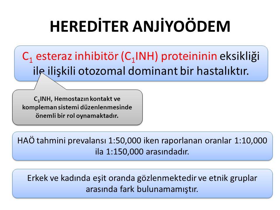 HEREDİTER ANJİYOÖDEM C 1 esteraz inhibitör (C 1 INH) proteininin eksikliği ile ilişkili otozomal dominant bir hastalıktır. C 1 INH, Hemostazın kontakt