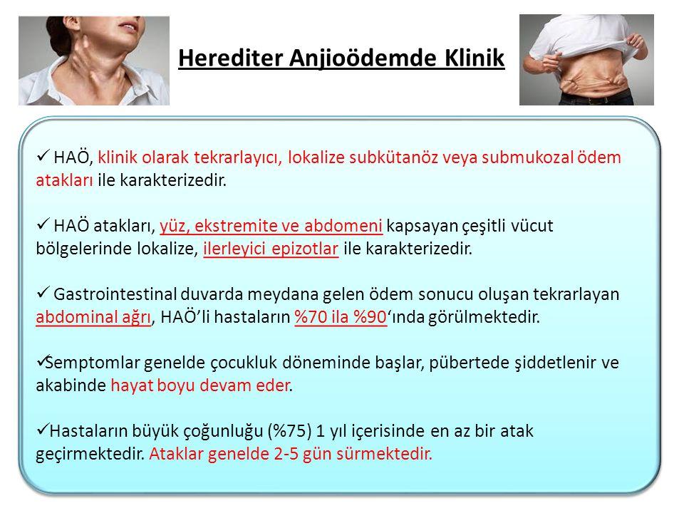 Herediter Anjioödemde Klinik HAÖ, klinik olarak tekrarlayıcı, lokalize subkütanöz veya submukozal ödem atakları ile karakterizedir. HAÖ atakları, yüz,