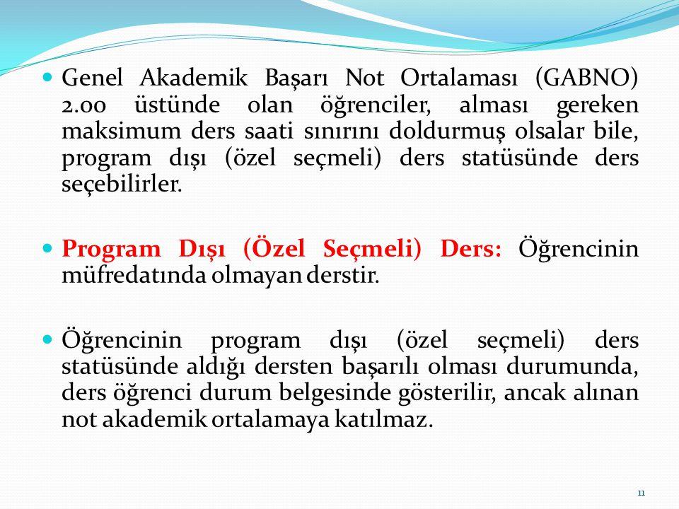 Genel Akademik Başarı Not Ortalaması (GABNO) 2.00 üstünde olan öğrenciler, alması gereken maksimum ders saati sınırını doldurmuş olsalar bile, program