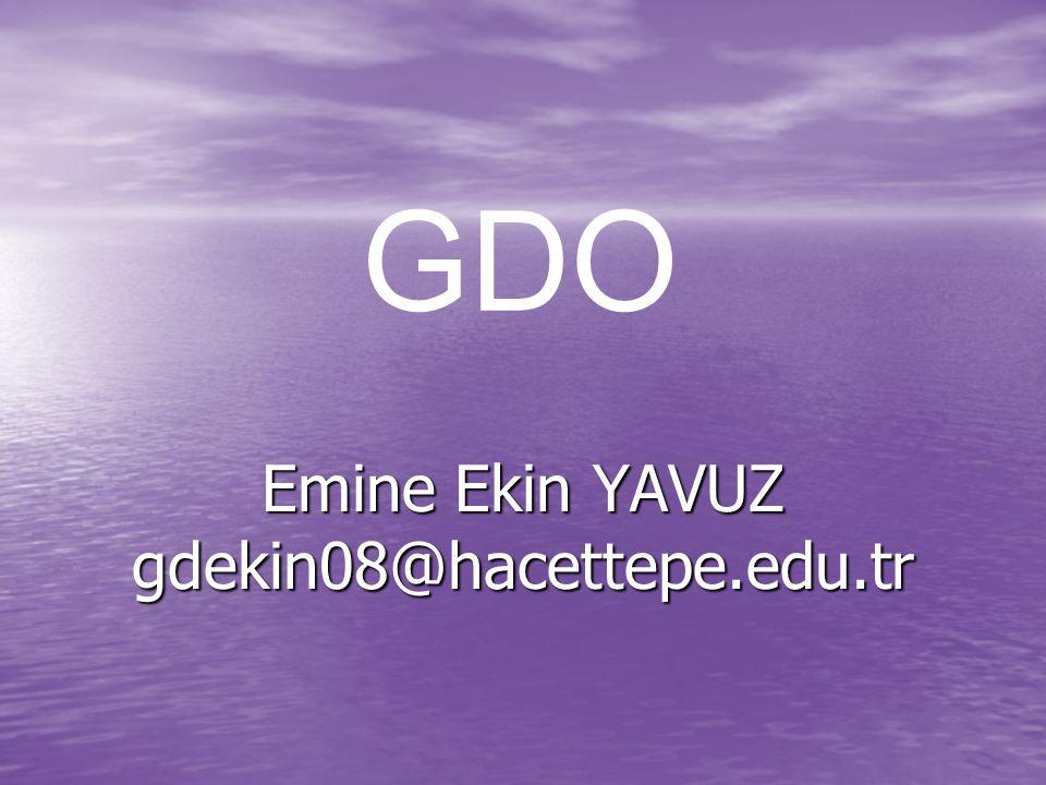 Emine Ekin YAVUZ gdekin08@hacettepe.edu.tr GDO