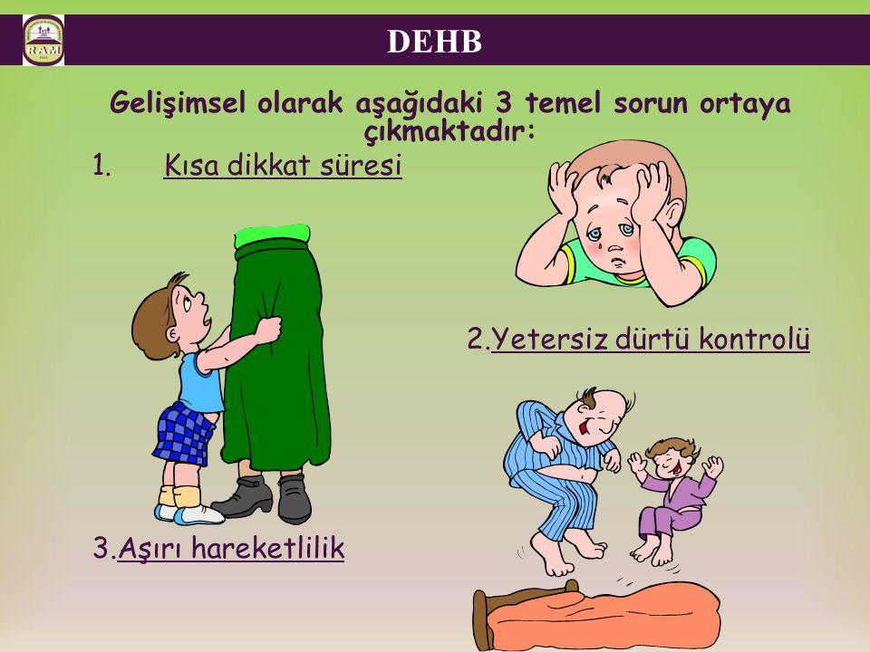  DSM-IV de DEHB tanısı konulabilmesi için 3 temel koşulun var olması gerekmektedir.