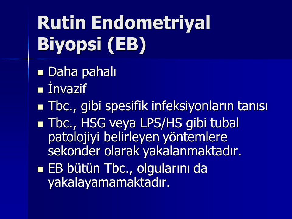 Rutin Endometriyal Biyopsi (EB) Daha pahalı Daha pahalı İnvazif İnvazif Tbc., gibi spesifik infeksiyonların tanısı Tbc., gibi spesifik infeksiyonların