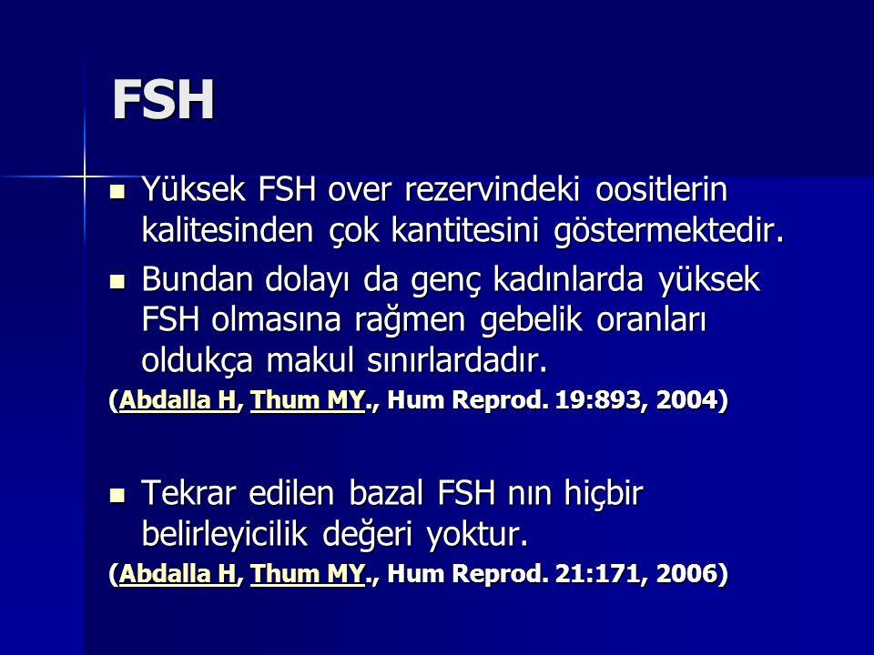FSH Yüksek FSH over rezervindeki oositlerin kalitesinden çok kantitesini göstermektedir. Yüksek FSH over rezervindeki oositlerin kalitesinden çok kant