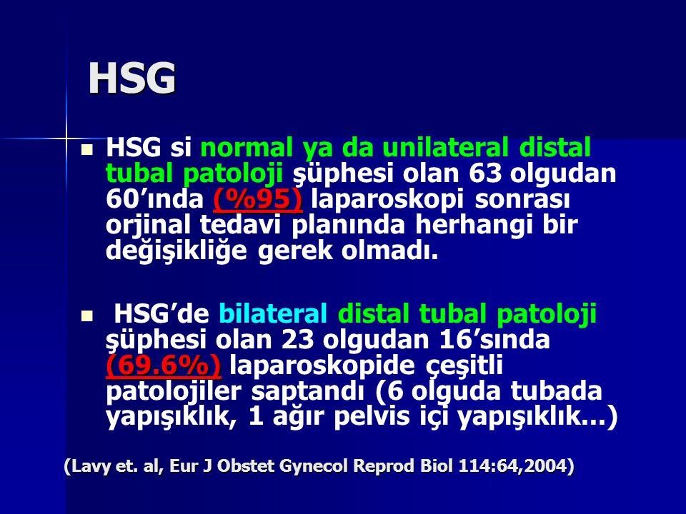 HSG (%95) HSG si normal ya da unilateral distal tubal patoloji şüphesi olan 63 olgudan 60'ında (%95) laparoskopi sonrası orjinal tedavi planında herha