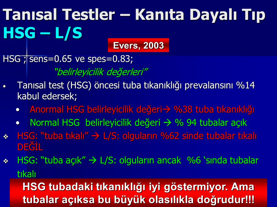 """Tanısal Testler – Kanıta Dayalı Tıp HSG – L/S HSG ; sens=0.65 ve spes=0.83; """"belirleyicilik değerleri"""" Tanısal test (HSG) öncesi tuba tıkanıklığı prev"""
