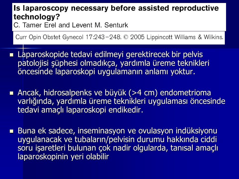 Laparoskopide tedavi edilmeyi gerektirecek bir pelvis patolojisi şüphesi olmadıkça, yardımla üreme teknikleri öncesinde laparoskopi uygulamanın anlamı