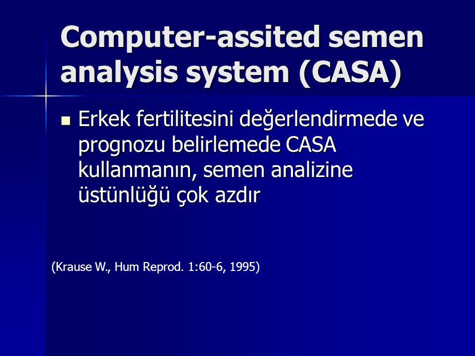 Computer-assited semen analysis system (CASA) Erkek fertilitesini değerlendirmede ve prognozu belirlemede CASA kullanmanın, semen analizine üstünlüğü