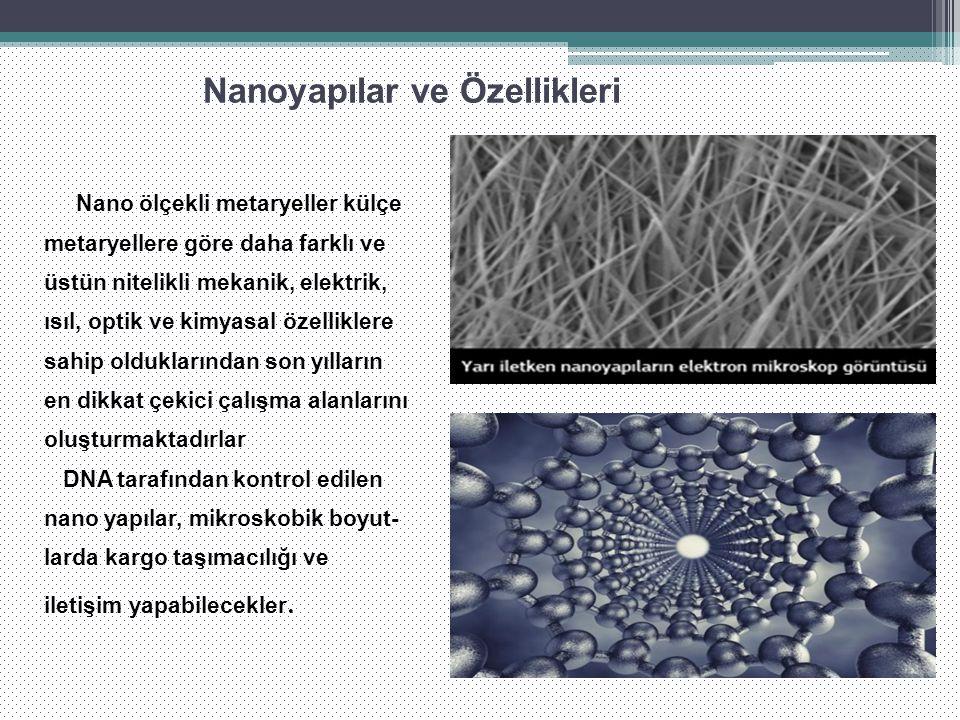 Nanoyapılar ve Özellikleri Nano ölçekli metaryeller külçe metaryellere göre daha farklı ve üstün nitelikli mekanik, elektrik, ısıl, optik ve kimyasal