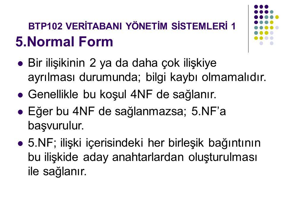 5.Normal Form Bir ilişikinin 2 ya da daha çok ilişkiye ayrılması durumunda; bilgi kaybı olmamalıdır. Genellikle bu koşul 4NF de sağlanır. Eğer bu 4NF